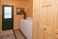 prefab log cabin home laundry room
