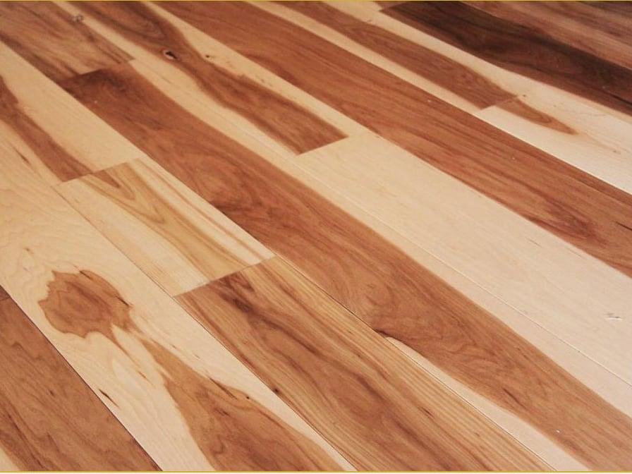Natural Hickory Flooring for Modular Cabin