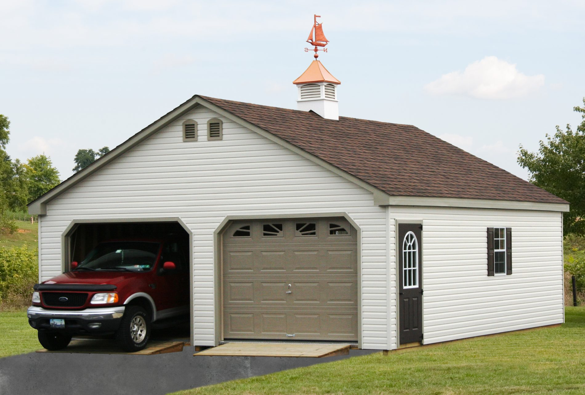 Double wide garages 2 car garages for sale zook cabins for Log cabin garages for sale