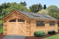 wood single car log garages