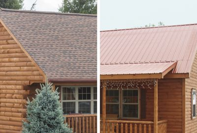 cabin metal or shingle roofing