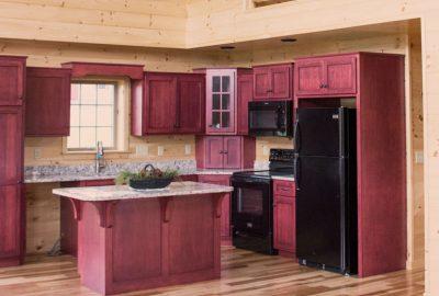 prefab log cabin cabinets vintage burgundy 1
