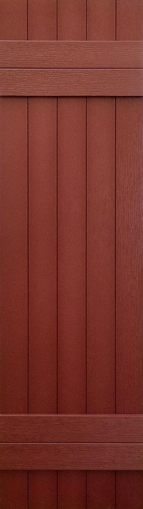 prefab log cabin shutters red