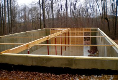 foundation for a log cabin