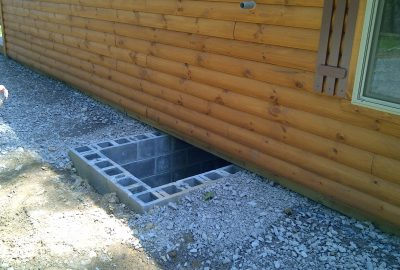 log cabin foundation utility access