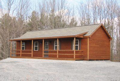 log cabin on concrete slab
