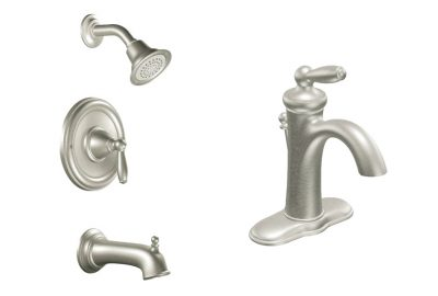 prefab log cabin faucet nickle bath