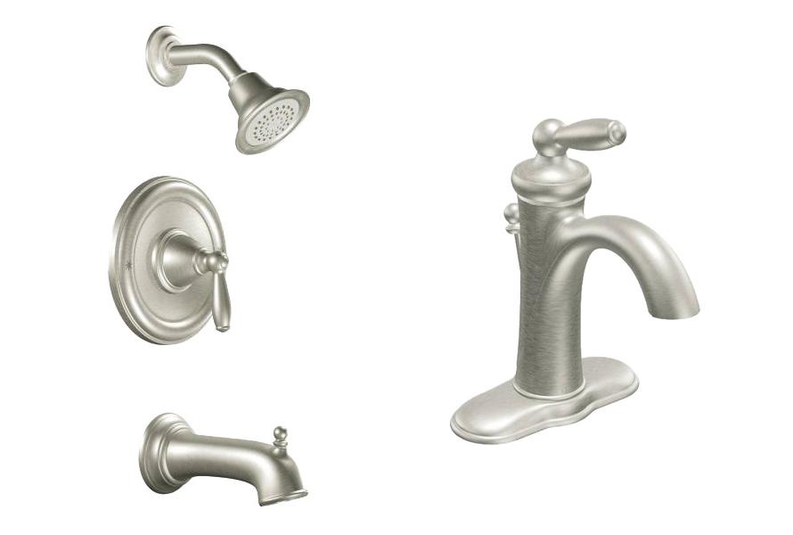 prefab log cabin faucet nickle bath