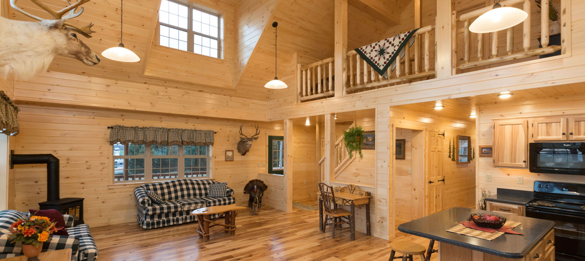 interior of amish log cabins for sale by zook cabins